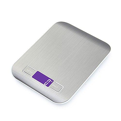 GPISEN Bilancia da Cucina Smart Digitale con Funzione Tare,5kg/11 lbs Professionale Acciaio Inox Alta Precision Bilancia Elettronica per la Casa e la Cucina,Argento,(2 Batteries Incluse) - 1