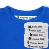 Haberdashery Online 100 Etichette Personalizzate in Ferro su Tessuto per contrassegnare i Vostri Vestiti con Varie Icone. Tela Bianca. Delicato sulla Pelle dei Vostri Bambini. (Bianco) - 1