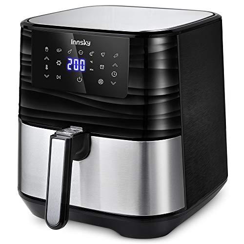 Innsky 5.5L Friggitrice ad Aria in acciaio inossidabile, 1700W Friggitrice Senza Olio, 7 Programmi e LED Touch Screen, Air Fryer per 5-6 persone, con 32 Ricette, senza BPA PFOA(Ultima versione) - 1
