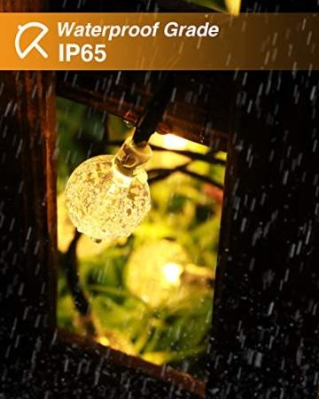 Kolpop Catena Luminosa Esterno [2 Pezzi], 30LED Luce Stringa solari Lucine Led Decorative di Crystal Globe Impermeabile IP65 Catena Luminosa per Natale, Giardino, Matrimonio, Festa (Bianco caldo) - 4