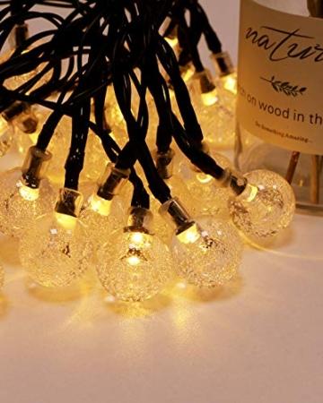 Kolpop Catena Luminosa Esterno [2 Pezzi], 30LED Luce Stringa solari Lucine Led Decorative di Crystal Globe Impermeabile IP65 Catena Luminosa per Natale, Giardino, Matrimonio, Festa (Bianco caldo) - 5