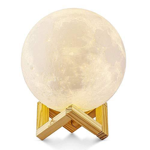 Lampada Luna 3D Stampata, ALED LIGHT Piena Lampada Moon Luna con Diametro 15cm, 3 Colori, Ricarica USB Decorativo LED Luce Notturna Toccare il Controllo, Decoro per Stanza Letto Mood Light per Camera - 1