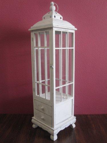 Lanterna in legno, gigante, 126 cm, colore: bianco antico - 1