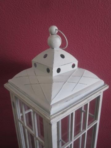 Lanterna in legno, gigante, 126 cm, colore: bianco antico - 4