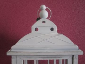 Lanterna in legno, gigante, 126 cm, colore: bianco antico - 8