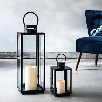 Lanterna in Metallo Zincato Nero per Interni ed Esterni con Candela LED a Pile di Lights4fun - 2