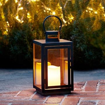 Lanterna in Metallo Zincato Nero per Interni ed Esterni con Candela LED a Pile di Lights4fun - 4