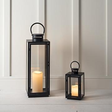 Lanterna in Metallo Zincato Nero per Interni ed Esterni con Candela LED a Pile di Lights4fun - 5
