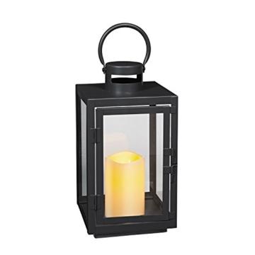 Lanterna in Metallo Zincato Nero per Interni ed Esterni con Candela LED a Pile di Lights4fun - 7