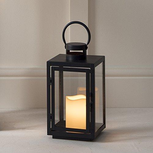 Lanterna in Metallo Zincato Nero per Interni ed Esterni con Candela LED a Pile di Lights4fun - 1