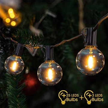 LED Catena Luminosa Esterno,VIFLYKOO 36 FT Catena Luci Stringa con 25 lampadine 3 di Ricambio G40 Bianco Caldo Impermeabile Decorazione da Esterno e Interno per Festa,Giardino,Natale,Matrimonio - 1