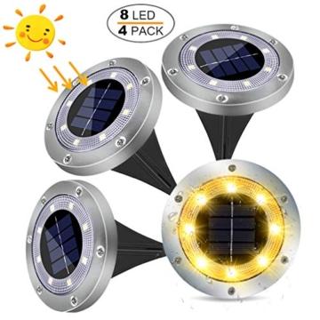 LED Luce Solari Giardino Esterno,MUZEY 4 Pezzi 8Led Lampada Solare da Giardino Faretti Terra Incasso 100LM Batteria Integrata IP65 Impermeabile Luci Gialla per Scala Paesaggio Strade Aiuola Vialetto - 1