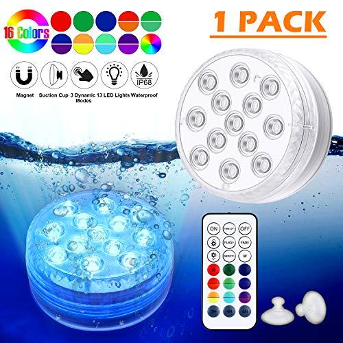 LED Sommergibili Luci Piscina, Luci a LED Sommergibili Impermeabile, Luci per Laghetto con Telecomando, per La Cerimonia Nuziale/Partito/Piscina/Fish Tank Decorazione(1 PCS) - 1