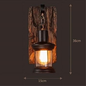 LOFT abbigliamento vintage in legno massiccio American Arts Lanterna bar caffetteria ristorante-camera da letto vetro vintage lampada da parete - 2