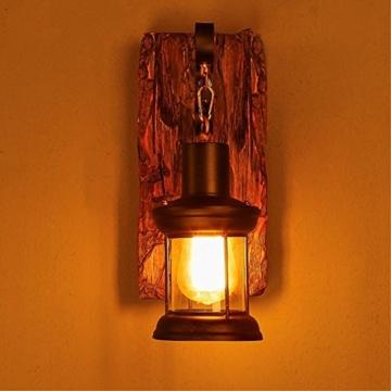 LOFT abbigliamento vintage in legno massiccio American Arts Lanterna bar caffetteria ristorante-camera da letto vetro vintage lampada da parete - 4