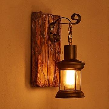 LOFT abbigliamento vintage in legno massiccio American Arts Lanterna bar caffetteria ristorante-camera da letto vetro vintage lampada da parete - 1