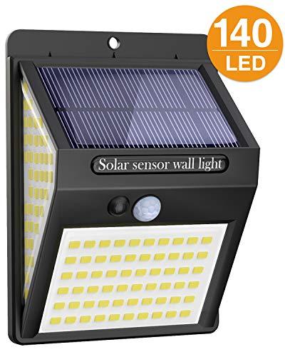 Luce Solare LED Esterno, 140LED Luci Solari Lampade Faretti Solari a LED da Esterno Sensore di Movimento IP65 Impermeabile 3 Modalità per Giardino, Parete Wireless Risparmio Energetico - 1
