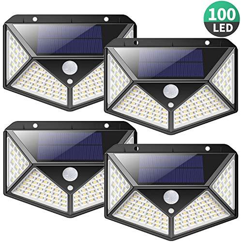 Luce Solare LED Esterno,【2200mAh-Risparmio Energetico】100LED Lampade Solari Sensore di Movimento 270° Illuminazione Luci Esterno Energia Solare Lampada Solare Impermeabile per Giardino,Parete-4 Pezzi - 1