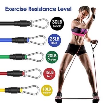 MeaMae Care Set di Elastici Fitness Professionale con 5 bande elastiche fitness resistenza Attrezzi palestra fitness casa, Yoga, Pilates - 3