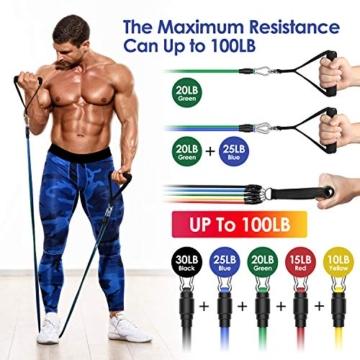 MeaMae Care Set di Elastici Fitness Professionale con 5 bande elastiche fitness resistenza Attrezzi palestra fitness casa, Yoga, Pilates - 4