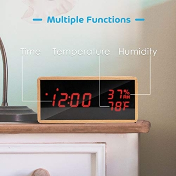 Meross Sveglia Digitale LED Orologio Allarme da Tavolo Comodino, controllo acustico, data, temperatura e umidità, alimentazione USB, per casa, camera da letto e ufficio - 2