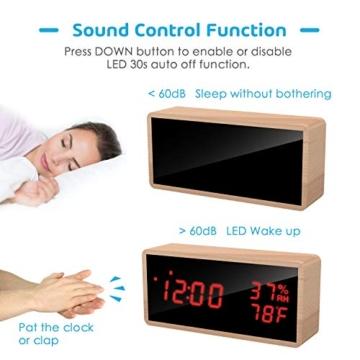 Meross Sveglia Digitale LED Orologio Allarme da Tavolo Comodino, controllo acustico, data, temperatura e umidità, alimentazione USB, per casa, camera da letto e ufficio - 3