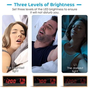 Meross Sveglia Digitale LED Orologio Allarme da Tavolo Comodino, controllo acustico, data, temperatura e umidità, alimentazione USB, per casa, camera da letto e ufficio - 4