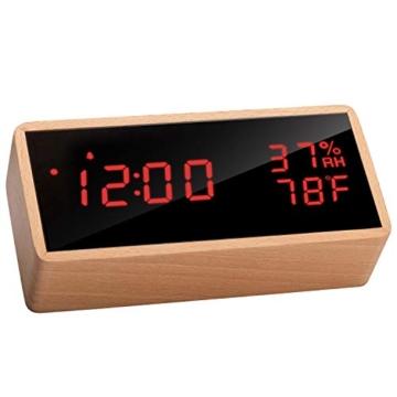 Meross Sveglia Digitale LED Orologio Allarme da Tavolo Comodino, controllo acustico, data, temperatura e umidità, alimentazione USB, per casa, camera da letto e ufficio - 1