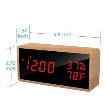 Meross Sveglia Digitale LED Orologio Allarme da Tavolo Comodino, controllo acustico, data, temperatura e umidità, alimentazione USB, per casa, camera da letto e ufficio - 6