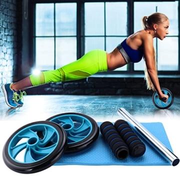 Mitavo Ab roller, ab wheel , ruota allenamento con tappetino per le ginocchia, per il fitness e l'allenamento dei addominali / muscoli delle spalle / muscoli delle braccia / muscoli delle gambe - 5