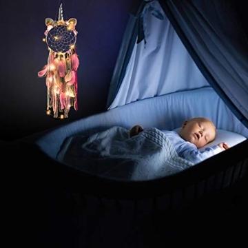 MMTX Dream Acchiappasogni Unicorno a LED, Decorazione per la Casa, Fiore Fatto a Mano Piume Acchiappasogni per Ragazze Camera da Letto Decorazione da Appendere a Parete Ornamento Craft Regalo (Rosa) - 4
