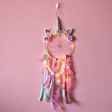 MMTX Dream Acchiappasogni Unicorno a LED, Decorazione per la Casa, Fiore Fatto a Mano Piume Acchiappasogni per Ragazze Camera da Letto Decorazione da Appendere a Parete Ornamento Craft Regalo (Rosa) - 6