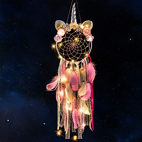 MMTX Dream Acchiappasogni Unicorno a LED, Decorazione per la Casa, Fiore Fatto a Mano Piume Acchiappasogni per Ragazze Camera da Letto Decorazione da Appendere a Parete Ornamento Craft Regalo (Rosa) - 1