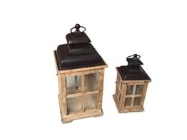 Mobili Rebecca® Set 2 Lanterne Portacandela Shabby Legno Vetro Metallo Arredo Interni (cod. RE6013) - 1