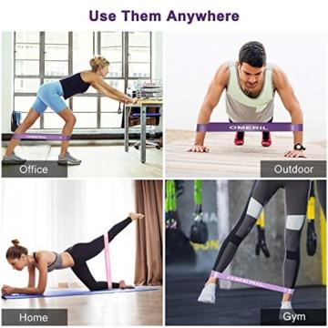 OMERIL Elastici Fitness (Set di 5), Bande di Resistenza Fitness con 5 Livelli di Resistenza, Fasce Elastiche Fitness per Crossfit, Yoga, Pilates, Squats, Lunges, Stretching, Allenamento di Forza - 7