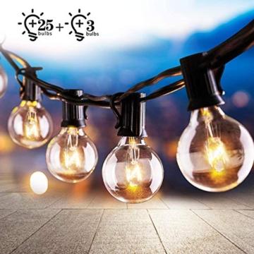 Osaloe Catene Luminose 25 pcs, 9.5 M/31FT Stringa Luci Catene Luminose G40 Impermeabile e 3 Lampadine a Ricambio decorazione interna ed esterna per Giardino, Matrimonio, Natale, Festa - 1