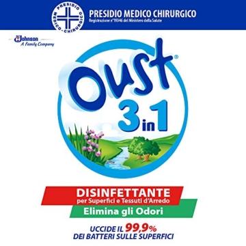 Oust 3 in 1 Spray Elimina Odori, Disinfettante, Uccide il 99.9 % dei Batteri sulle Superfici, 1 Confezione da 400 ml - 4