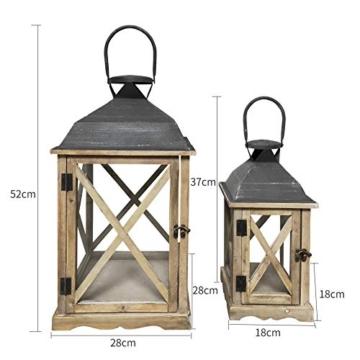 Rebecca Mobili Set 2 Lanterne da Giardino Porta Candele in Legno Metallo Vetro Marrone Chiaro Grigio Esterno Interno - 52 x 28 x 28 cm (H x L x P) - Art. RE6216 - 2