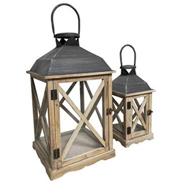 Rebecca Mobili Set 2 Lanterne da Giardino Porta Candele in Legno Metallo Vetro Marrone Chiaro Grigio Esterno Interno - 52 x 28 x 28 cm (H x L x P) - Art. RE6216 - 4