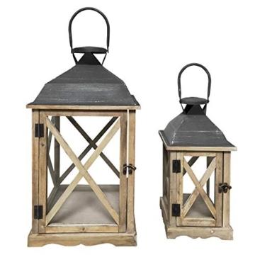 Rebecca Mobili Set 2 Lanterne da Giardino Porta Candele in Legno Metallo Vetro Marrone Chiaro Grigio Esterno Interno - 52 x 28 x 28 cm (H x L x P) - Art. RE6216 - 1