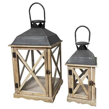 Rebecca Mobili Set 2 Lanterne da Giardino Porta Candele in Legno Metallo Vetro Marrone Chiaro Grigio Esterno Interno - 52 x 28 x 28 cm (H x L x P) - Art. RE6216 - 5