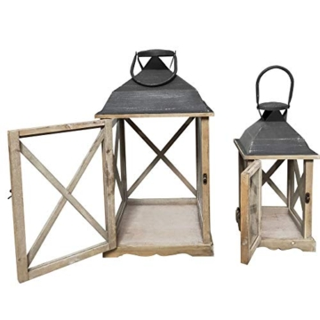 Rebecca Mobili Set 2 Lanterne da Giardino Porta Candele in Legno Metallo Vetro Marrone Chiaro Grigio Esterno Interno - 52 x 28 x 28 cm (H x L x P) - Art. RE6216 - 6