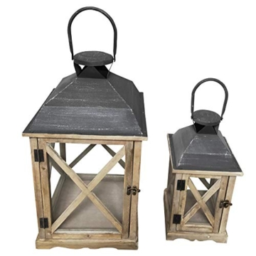 Rebecca Mobili Set 2 Lanterne da Giardino Porta Candele in Legno Metallo Vetro Marrone Chiaro Grigio Esterno Interno - 52 x 28 x 28 cm (H x L x P) - Art. RE6216 - 7