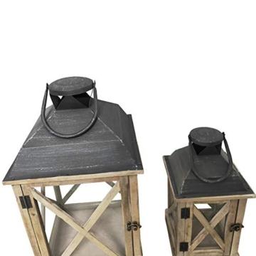 Rebecca Mobili Set 2 Lanterne da Giardino Porta Candele in Legno Metallo Vetro Marrone Chiaro Grigio Esterno Interno - 52 x 28 x 28 cm (H x L x P) - Art. RE6216 - 8