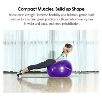 REEHUT Palla da Ginnastica Resistente Fino a 498kg Anti-Scoppio con Pompa per Fitness, Allenamento, Yoga e Pilates - 75CM, Viola - 3