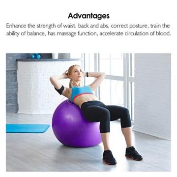 REEHUT Palla da Ginnastica Resistente Fino a 498kg Anti-Scoppio con Pompa per Fitness, Allenamento, Yoga e Pilates - 75CM, Viola - 4