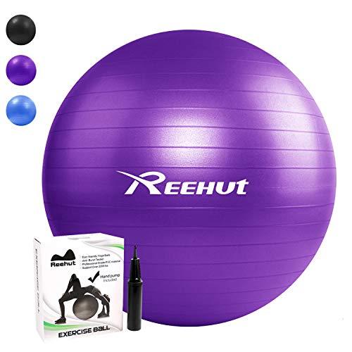 REEHUT Palla da Ginnastica Resistente Fino a 498kg Anti-Scoppio con Pompa per Fitness, Allenamento, Yoga e Pilates - 75CM, Viola - 1