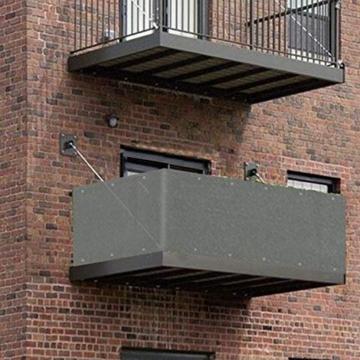 Sekey Recinzione Copertura per Balcone Giardino Protezione della Privacy Schermo in HDPE Permeabile, Leggermente Trasparente, per Estate ed Inverno, con Fascette e funi, 75 x 300cm Antracite - 3