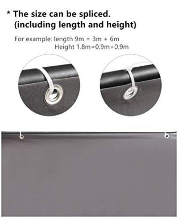 Sekey Recinzione Copertura per Balcone Protezione della Privacy Schermo in Polyster Opaco, per Balcone Giardino terrazza, con Occhielli Corde e Fascetta, 75 x 300cm Antracite - 2