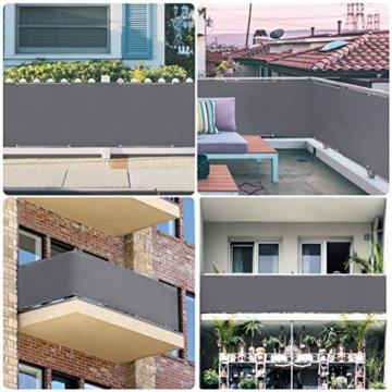 Sekey Recinzione Copertura per Balcone Protezione della Privacy Schermo in Polyster Opaco, per Balcone Giardino terrazza, con Occhielli Corde e Fascetta, 75 x 300cm Antracite - 4
